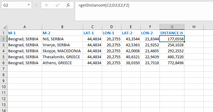 Calculating the distance – Excel kitchenette