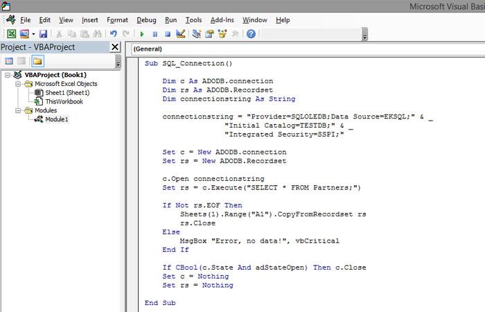 VBA and SQL Server – Excel kitchenette